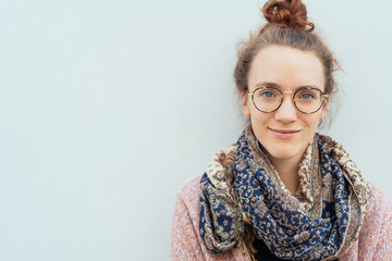 Attractive young woman wearing spectacles