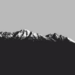 Mountains landscape on grey background