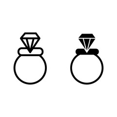 Wedding ring line and glyph icon. Engagement ring vector illustration isolated on white. Jewel outline style design, designed for web and app. Eps 10.