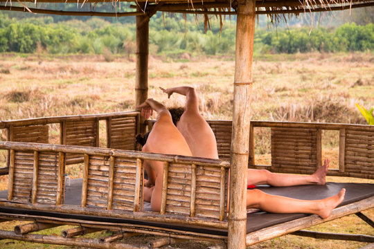 Two women in a naked yoga session in Chiang Mai in Northern Thailand