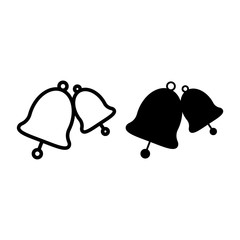 Wedding bells line and glyph icon. Bell vector illustration isolated on white. Decoration outline style design, designed for web and app. Eps 10.