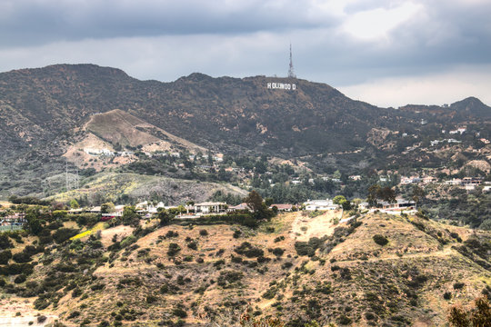 The famous Hollywood sign in the Hollywood Hills on the outskirts of Los Angeles in the USA