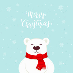 Polar Bear with Red Scarf and Lettering Merry Christmas