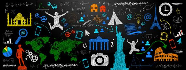Fototapeta lavagna, icone, sfondo, negozio, commercio