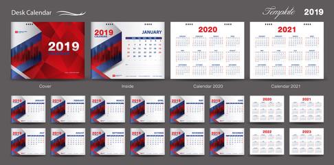 Set Desk Calendar 2019 template design vector, Calendar 2020,2021, 2022, 2023, cover design, Set of 12 Months, Week starts Sunday, Stationery design, flyer layout, printing media, red background