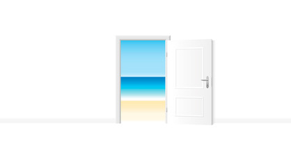 Open white door with delightful beach view. Bright white room with access to the ocean shore. Vector illustration.