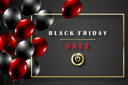 Black Friday Sale Concept - glossy balloons in black background - Vector