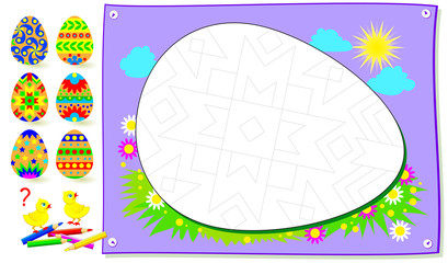 Educational page for kids. Need to find the Easter egg corresponding pattern and paint the picture. Logic puzzle game for young children with black and white image for coloring book.