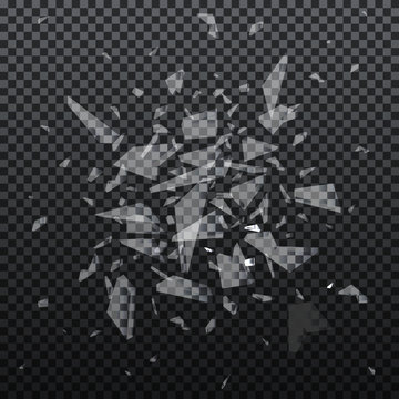 Vector realistic shards of broken glass. Shattered glass pieces isolated on black background. Abstract explosion.