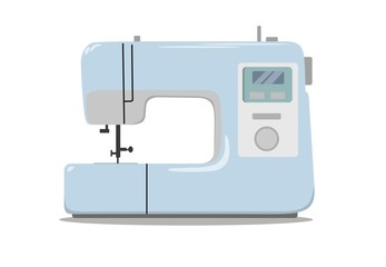 Sewing machine for sewing and embroidery. Home equipment. Vector illustration.