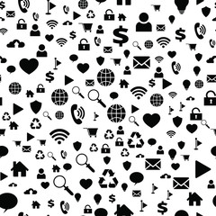 Seamless vector EPS 10 with computer network icons. Texture background for textile, print, paper, fabric background, wallpaper