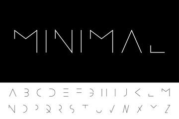 Vector minimal font - modern futuristic design. Creative english alphabet, thin latin letters