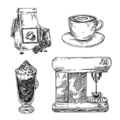 Coffee set. cappuccino cup, paper bag with beans, coffee machine and mocha. Sketch. Engraving style. Vector illustration.