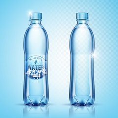 Vector plastic bottles with water