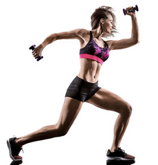 one caucasian woman exercising cardio boxing cross core workout fitness exercise aerobics...