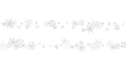 Snowflakes falling on white background. Horizontal Christmas and Happy New Year theme. Silver falling snowflakes for banner, gift card, party invitation, partner compliment and special business offers