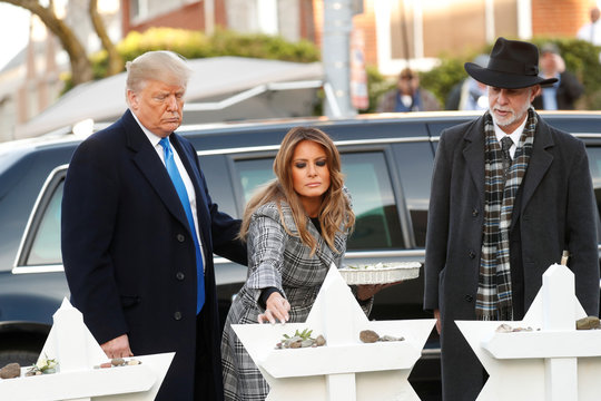 U.S. President Trump and Melania visit Tree of Life synagogue following shooting in Pittsburgh, Pennsylvania