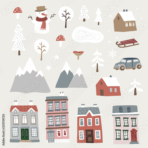Set of cute Christmas landscape, town and village icons  Hand drawn