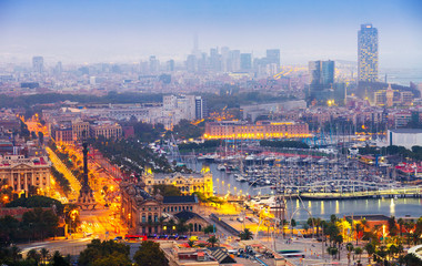 view to Barcelona and Port Vell in summer evening