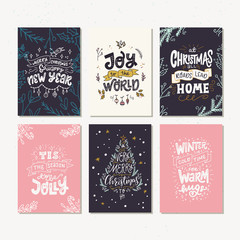 Six holiday cards with Christmas quotes and phrases