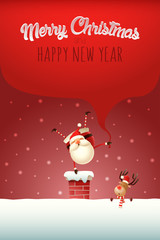 Christmas template poster with text - Happy Santa Claus with gifts bag standing on one hand on the chimney
