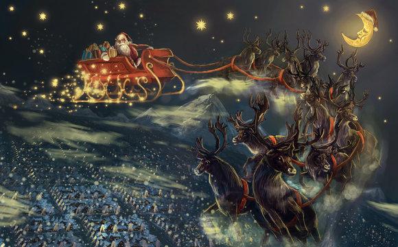 santa flying over town