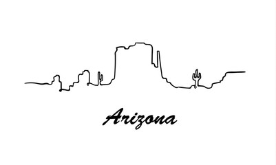Fotomurales - One line style Arizona skyline. Simple modern minimaistic style vector.