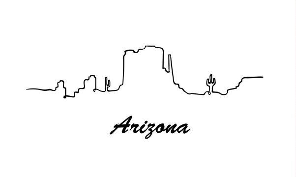 One line style Arizona skyline. Simple modern minimaistic style vector.