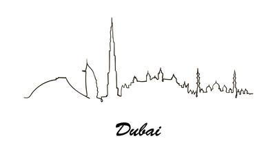 One line style Dubai skyline. Simple modern vector.