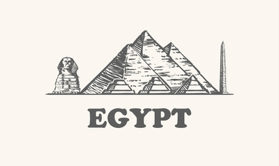 Fotomurales - Egypt skyline, vintage vector illustration, hand drawn egypt, on white background.