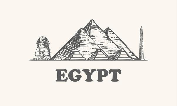 Egypt skyline, vintage vector illustration, hand drawn egypt, on white background.