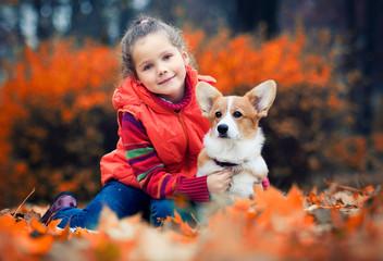 child and puppy, welsh corgi