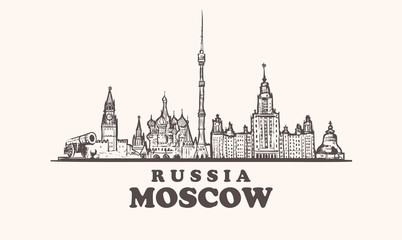 Moscow skyline, Russia vintage vector illustration, hand drawn elements buildings of Moscow city.