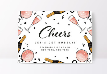 New Year's Party Invitation Layout. Happy New Year Greeting Card