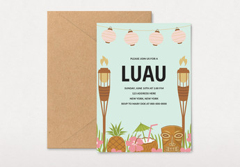 Luau Party Invitation Layout