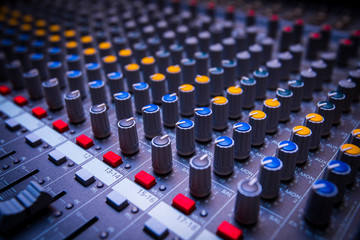 Professional console sound mix. Sound mixing controller for music.Dj audio mixer knobs for nightclub event.