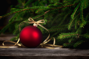 Christmas Background with Red Christmas Tree ornament ball
