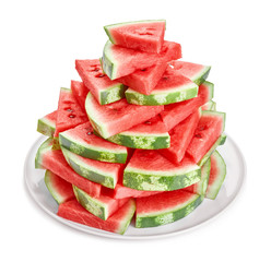 heap of fresh watermelon slices in plate isolated on white background