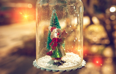 New Year and Christmas snowman, fabulous picture with a Christmas tree.