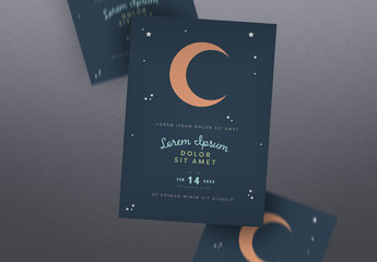 Event Poster Layout with Moon Illustration