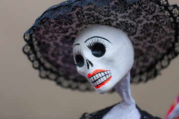 Decorated Catrina doll for dia de los muertos, day of the dead