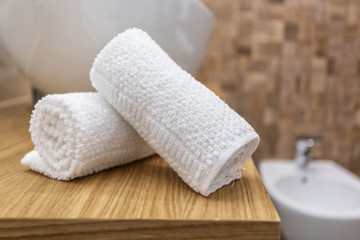 Two towels in a roll in the bathroom.