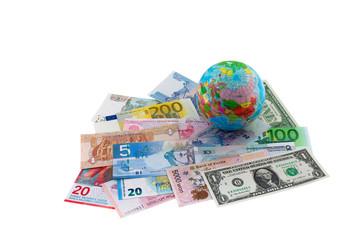 Geldscheine, Währung, Erdkugel, Welt