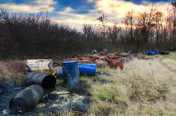 Barrels of toxic waste in nature