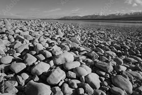 beach, stone, sea, pebble, rocks, stones, pebbles, rock, nature, sky