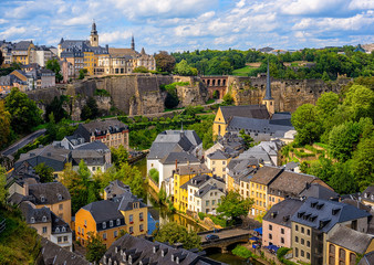 Luxembourg city, view of the Old Town and Grund