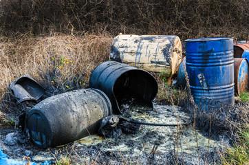 Obraz Barrels of toxic waste in nature - fototapety do salonu