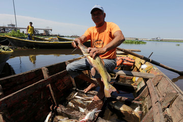 A fisherman poses for a picture on the Paraguay River on the outskirts of Asuncion city in Paraguay