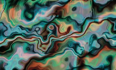 Green Ebru or Suminagashi Art Paper Style - Liquid Flow Marbled Background - Paints Stains and Turbulence