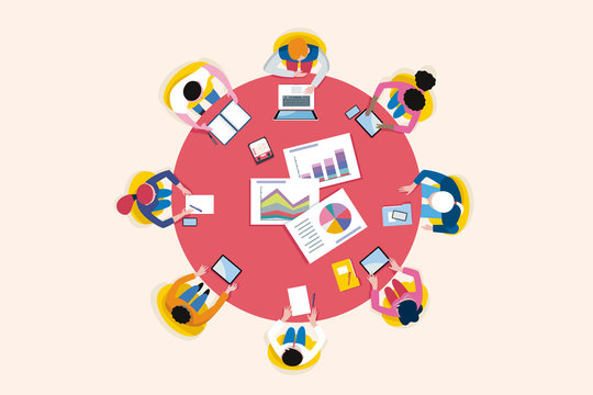 Top View Business Meeting Arround Circular Table